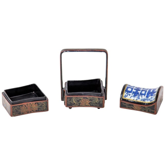 Asian Chinese Lacquered Stacking Boxes For Sale - Image 3 of 8