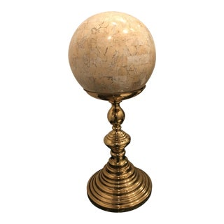 Super Close Out Sale !! Vintage Maitland-Smith Tessellated Marble Sphere and Brass Stand Sculpture For Sale