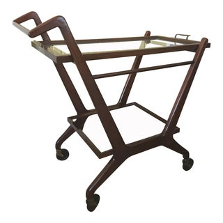 1950's Mid Century Modern Italian Cesare Lacca Wood Bar Cart For Sale