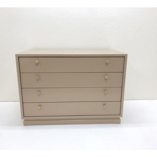 Gold Lacquered and Brass Nightstand by Steve Chase For Sale - Image 8 of 9