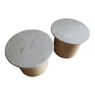 20th Century Minimalist Paul Mayen Style Cerused Oak and Travertine Cylinder Drum Side Tables End Tables Nightstands - a Pair For Sale