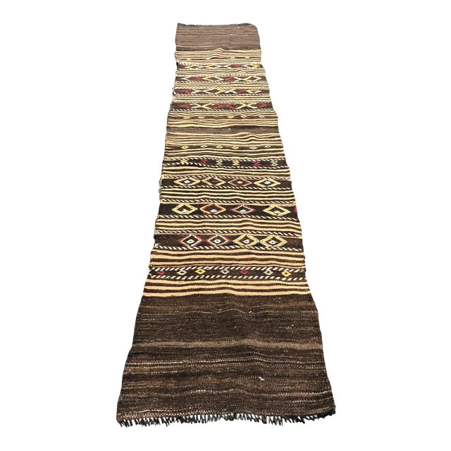 1960s Vintage Decorative Turkish Anatolian Hand-Woven Kilim Runner- 1′10″ × 10′10″ For Sale