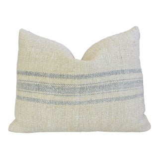 "Blue-Gray Striped French Grain-Sack Feather/Down Pillow 23"" X 18"" For Sale"