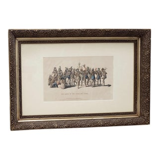 """""""War Dance of the Sauks and Foxes"""" Hand Colored Lithograph C.1837 For Sale"""