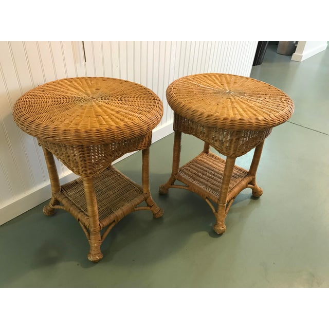 Vintage Wicker Side Tables with Glass Tops - A Pair For Sale - Image 11 of 11
