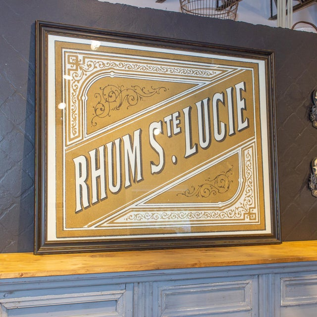 Lithograph of Antique Rum Label From the French West Indies in New Framing For Sale - Image 4 of 8