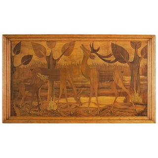 1930s Art Deco Decorative Panel, Marquetry, Ash Frame, Italy For Sale