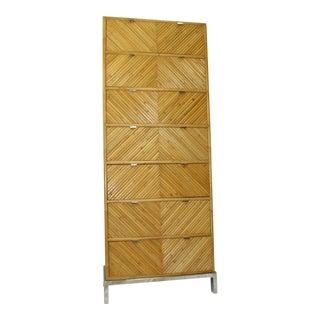 Milo Baughman Mid-Century Modern 7-Drawer Bamboo Commode Chevron Dresser on Chrome Base