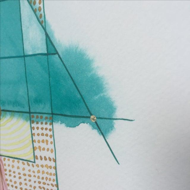 Lori Fox Abstract Watercolor Totem - Image 6 of 9