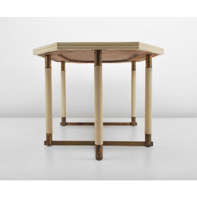 1960s Maison Jansen Octagonal Leather Dining Table For Sale - Image 5 of 6