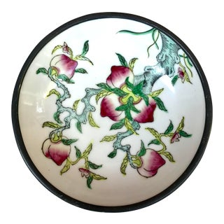 Vintage Chinese Porcelain Lucky Peaches Catchall For Sale
