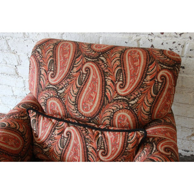 Gold Kravet Lounge Chair and Ottoman in Paisley Upholstery For Sale - Image 8 of 12