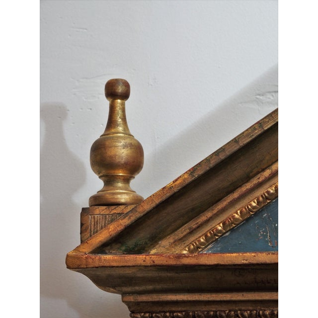 Neoclassical Polychrome and Gilt Pediment Form Mirror For Sale - Image 3 of 8