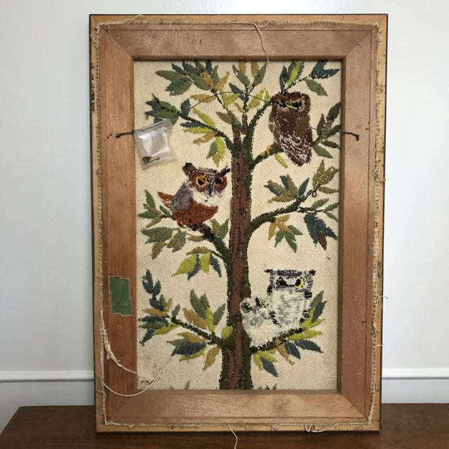 Mid-Century Embroidered Owl Artwork - Image 4 of 8