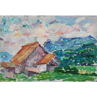 Colorful Monterey Countryside Oil Painting, Mid 20th Century For Sale
