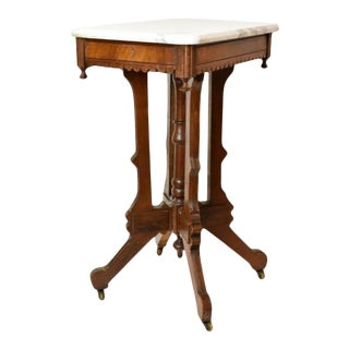 Antique Victorian Solid Walnut Wood With Marble Top Side Table For Sale