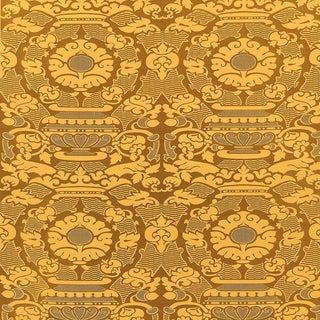 Sample, Suzanne Tucker Home Piacevole Silk Linen Jacquard Fabric in Curry For Sale