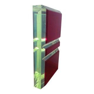 Vasa Velizar Mihich Style Lucite Paperweight Sculpture Block For Sale