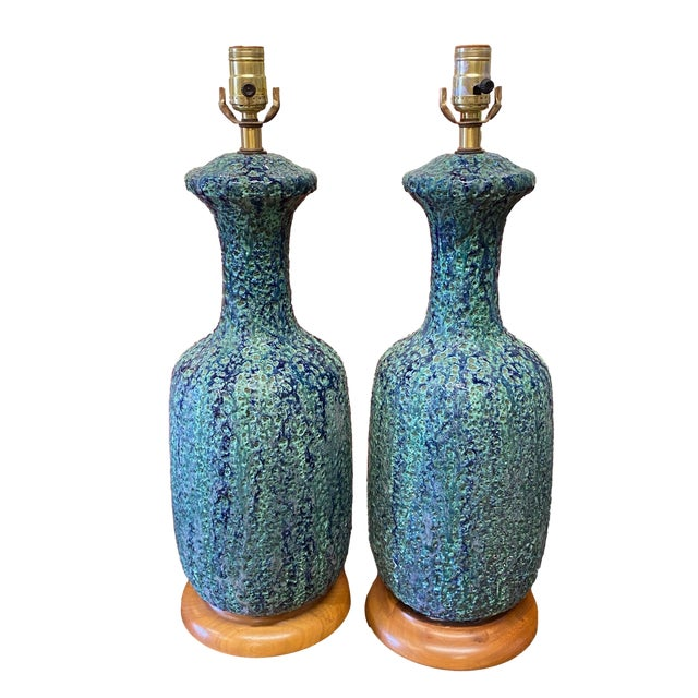 Mid Century Lava Glaze Lamps - a Pair For Sale - Image 11 of 11