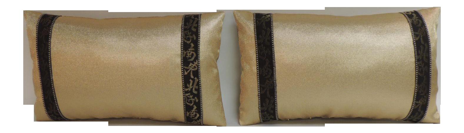 Pair Of Black And Gold Obi Silk Lumbar Vintage Decorative Pillows