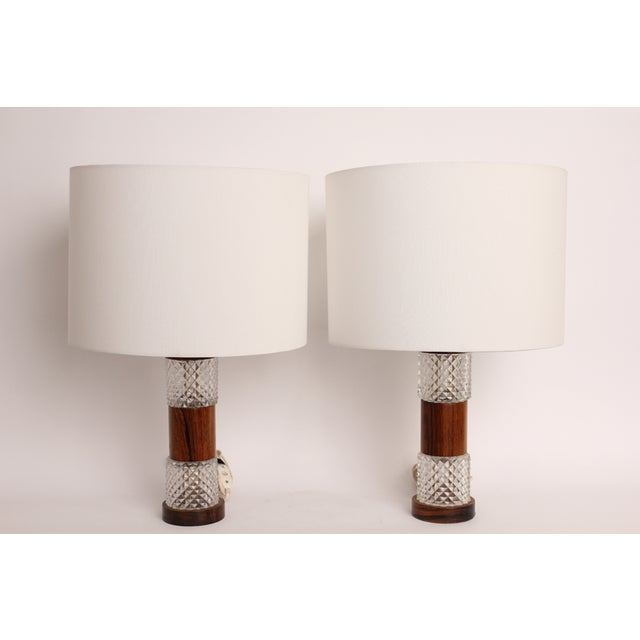 Mid-Century Rosewood Cut Glass Table Lamp - A Pair - Image 2 of 4