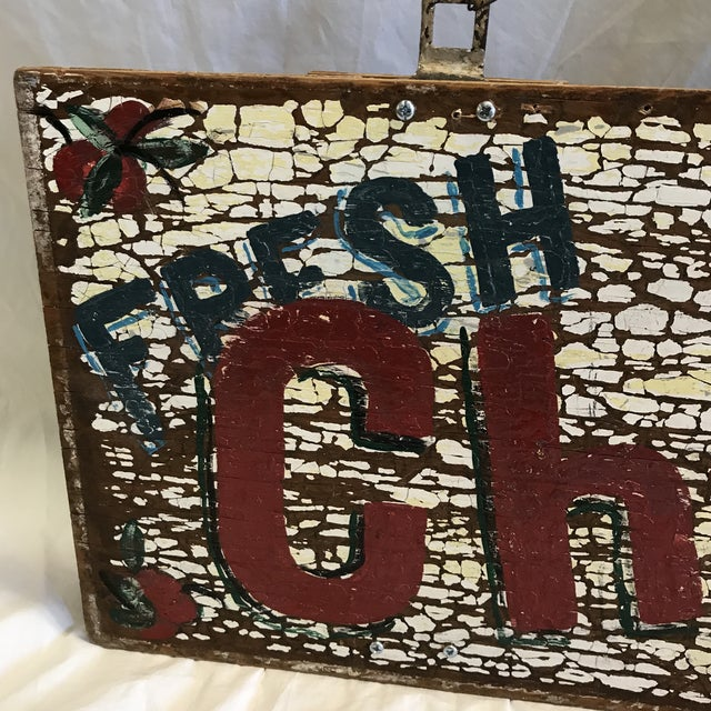 """Hand Painted """"Fresh Cherries Next Left"""" Sign by Folk Artist T. Toupe For Sale In Sacramento - Image 6 of 13"""