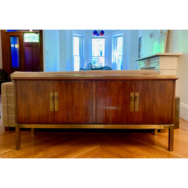 Brass Mid Century Modern Style Mahogany Console For Sale - Image 7 of 7