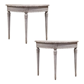 19th Century French Louis XVI Carved Painted Demilune Console Tables - a Pair For Sale