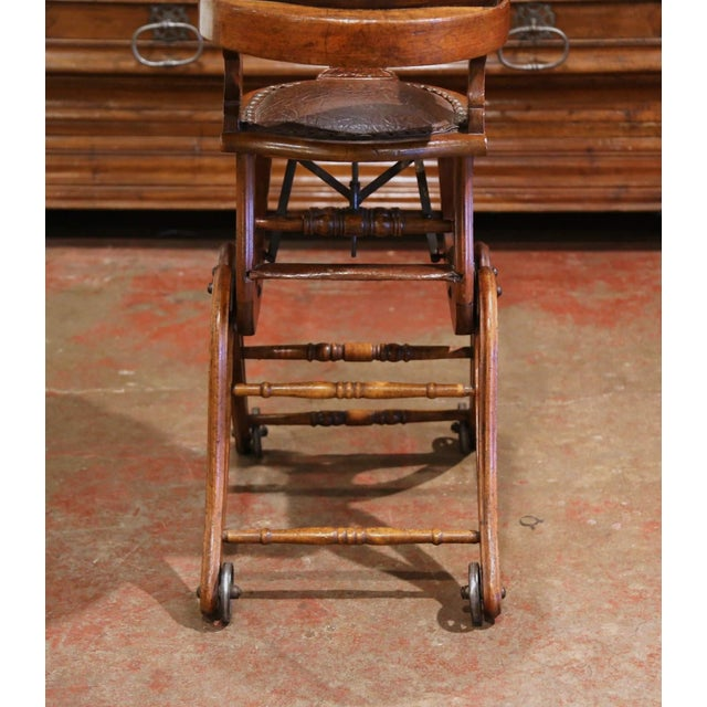 19th Century English Carved Walnut and Leather Adjustable High Chair Rocker For Sale - Image 9 of 13