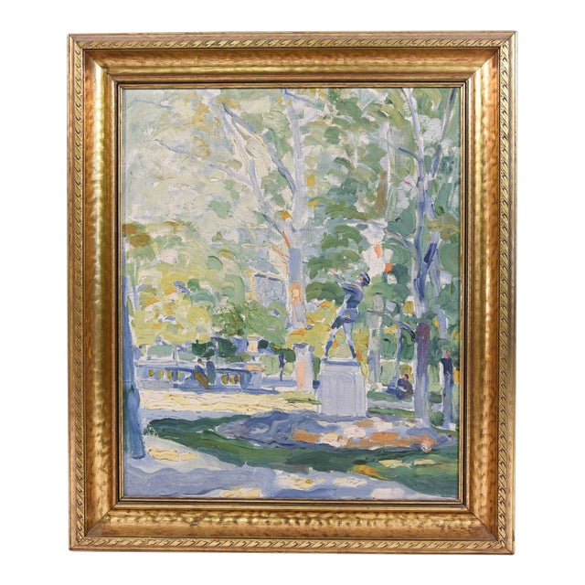 Impressionist Park Scene Oil Painting on Canvas For Sale