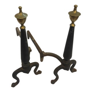 1950s Vintage Iron & Brass Finials Andirons - a Pair For Sale