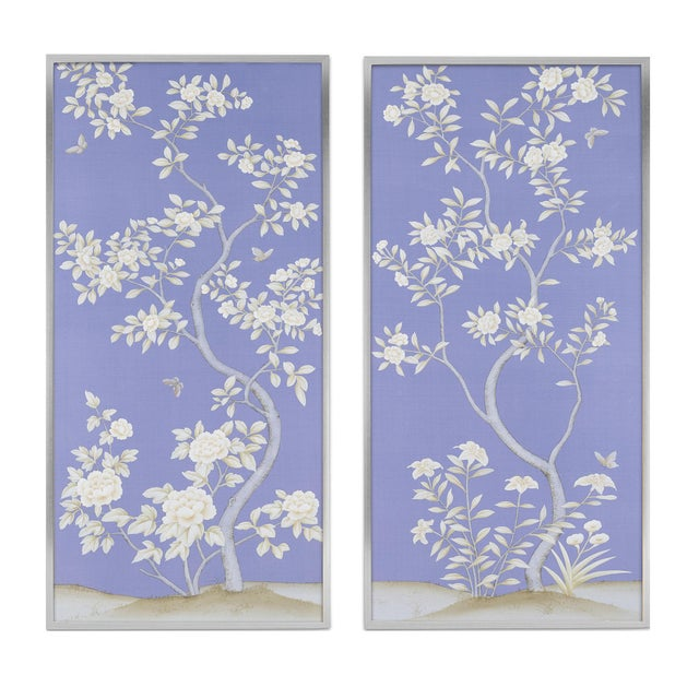 """Cornflower Blue Jardins en Fleur """"Inverness"""" Chinoiserie Hand-Painted Silk Diptych by Simon Paul Scott in Burnished Silver Frame - a Pair For Sale - Image 8 of 8"""