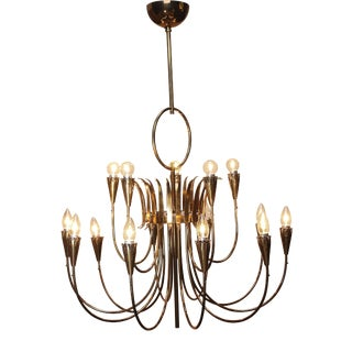 1950s Italian Brass Chandelier For Sale