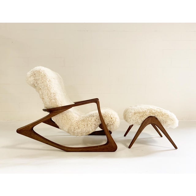 Vladimir Kagan Sculpted Rocking Chair and Ottoman in California Sheepskin For Sale - Image 9 of 9