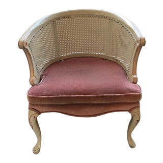 1970s Traditional Cream Caned Side Chair
