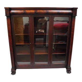 American Empire Lion Paw Foot Mahogany & Glass Triple Bookcase Cabinet