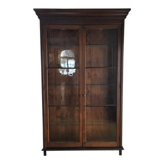 Large Antique Wood and Glass Two Door Display Cabinet