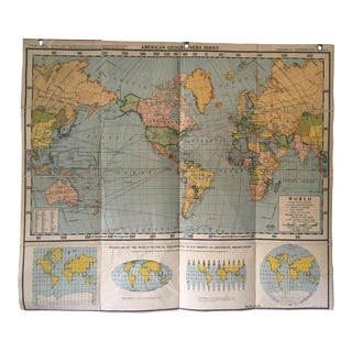 1940s Vintage World Map