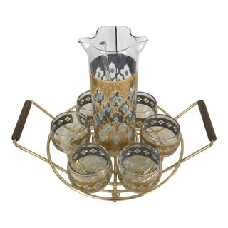 """1950s Culver """"Seville"""" Martini Pitcher, Glasses, and Caddy - Set of 9 For Sale"""