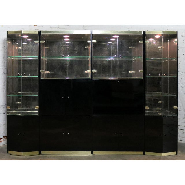 Italian Black Laminate Glass and Brass 4 Piece Modular Freestanding Wall Unit Display Cabinet For Sale - Image 11 of 11