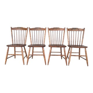 L. Hitchcock Maple Harvest Stonington Windsor Side Chairs - Set of 4 For Sale