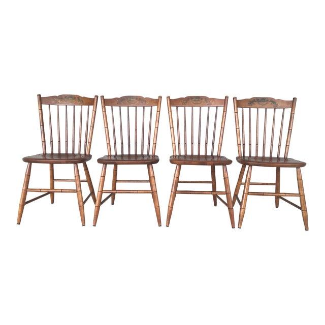 L. Hitchcock Maple Harvest Stonington Windsor Side Chairs - Set of 4 For Sale