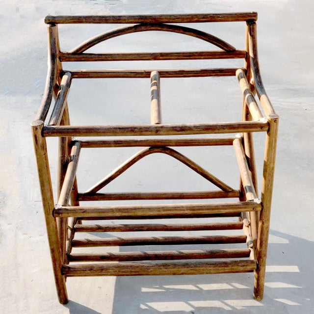 1970s 1970's Boho Chic 3 Tiered Counter Height Thick Rattan Etagere For Sale - Image 5 of 6