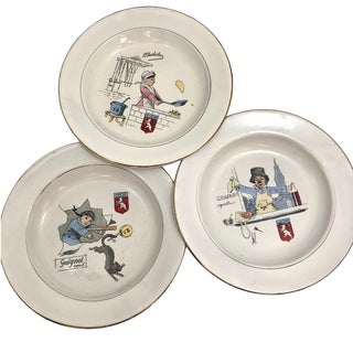 Villeroy & Boch French Enamelware Children's Dishes With Guignol Characters - Set of 3 For Sale