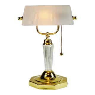 Vintage Bankers Desk Lamp With Ribbed Frosted Glass Shade For Sale