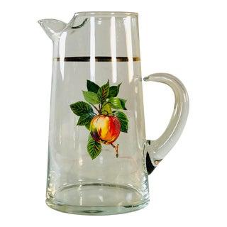 Vintage Glass Handled Fruit Pitcher For Sale