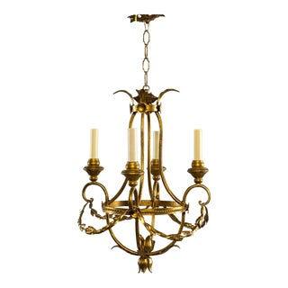 French Gilt Metal Four Light Chandelier With Wood Bobeches