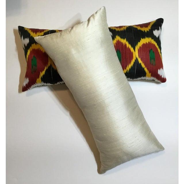 Silk Silk Ikat Lumbar Pillows - a Pair For Sale - Image 7 of 13