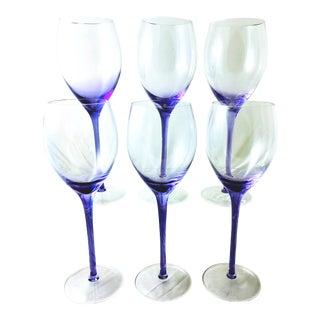 Vintage Lilac Blown Glass Stemware - Set of 6 For Sale