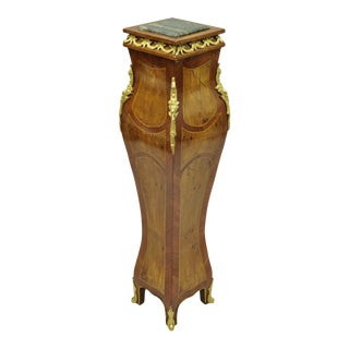 Louis XV French Style Bombe Marble Top Pedestal For Sale